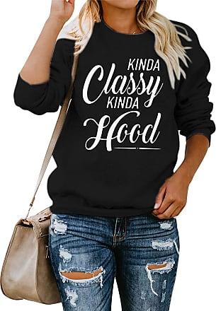 Dresswel Women Kinda Classy Kinda Hood Sweatshirt Crew Neck Long Sleeve Tops Pullover Jumpers Blouse Black