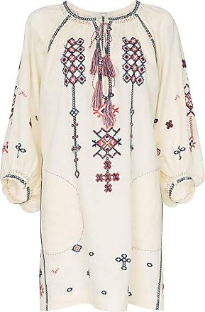 Vita Kin Vestido de linho com bordado - Neutro