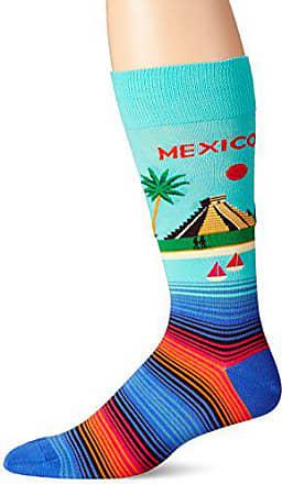 Hot Sox Mens Fashion Travel Crew Socks, Mexico (Mint), Shoe Size: 6-12