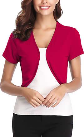 Abollria Womens Shrugs Summer Short Sleeve Knit Lightweight Open Front Bolero Cardigan Watermelon Red
