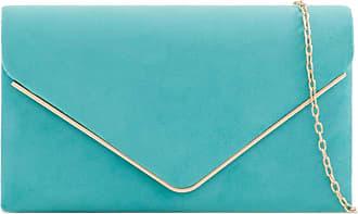 Craze London Womens Classic Medium Sized Faux Suede Envelope Clutch Bag with shoulder Chain Strap, Ladies Evening Purse (Turquoise)