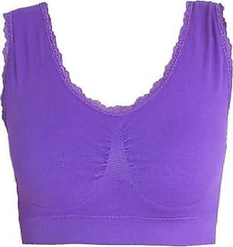 Abetteric Sutiã de ioga sem costura Abetteric plus size com acabamento em renda, Roxa, US 2X-L=China 3XL