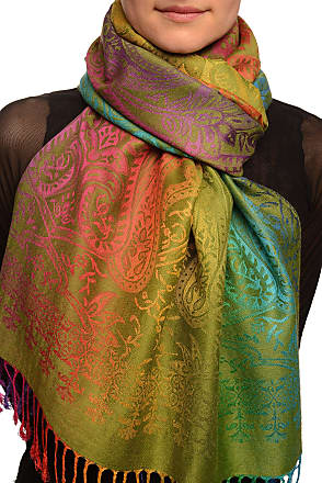 Liss Kiss Mirrored Ombre Paisleys On Olive Green Pashmina Feel With Tassels - Green Pashmina Floral Scarf