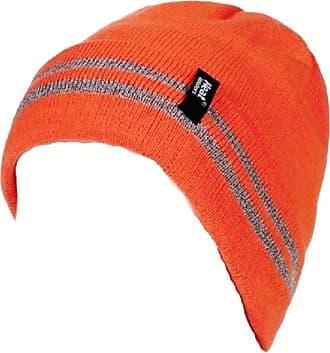 Heat Holders Mens Genuine Heat Holders 3.6 Tog Turnover Cuff Heat Weaver Winter Warm Thermal Hat (High Viz Orange)