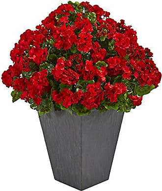 Nearly Natural Red Geranium Artificial Plant in Slate Plater