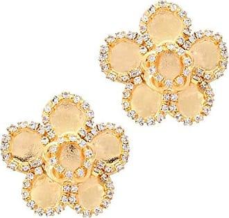 Tinna Jewelry Brinco Dourado Flor 5 Pétalas Com Strass