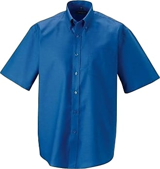Russell Athletic Russell Collection Mens Short Sleeve Easy Care Oxford Shirt (Oxford Blue, 15.5 inch)