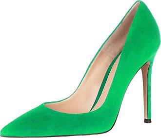 EDEFS Womens Pointed Toe Slip On Court Shoes High Heel Office Dress Pumps Green Size EU43