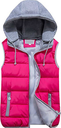 OCHENTA Women Quilted Zip Gilet Hooded Sleeveless High Neck Vest Jacket Rose Red Lable Size XL - UK S