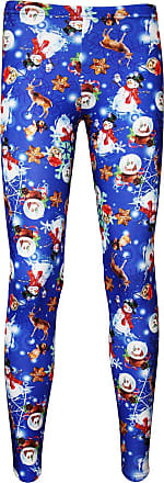 Insanity Ladies Christmas X-Mas Snow Globe Snowmen Winter Rabbits Print Leggings (L/XL) Blue