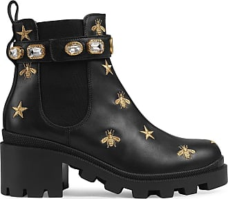 Gucci Ankle boot de couro com bordado - Preto
