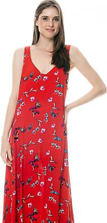 101 Resort Wear Vestido Longo 101 Resort Wear com Saia em Pontas Viscose Estampada Borboletas Fundo Vermelho