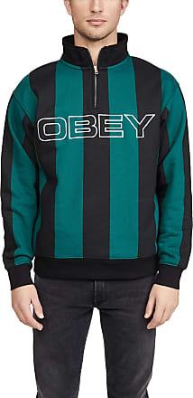 Obey Mens Goal Zip Mock Shirt - Green - S