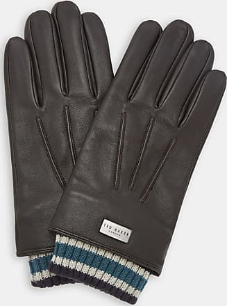 Ted Baker Ribbed Cuff Leather Gloves in Chocolate CONVER, Mens Accessories