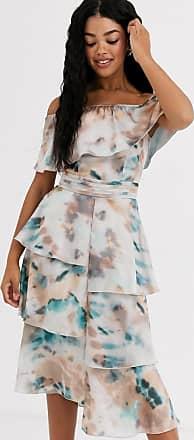 Little Mistress floaty off shoulder dress in marble print-Multi