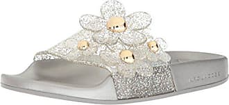 Marc Jacobs Womens Daisy Aqua Slide Sandal, Silver, 35 M EU (5 US)