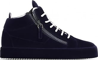 Giuseppe Zanotti Dark blue calfskin leather mid-top sneaker THE UNFINISHED