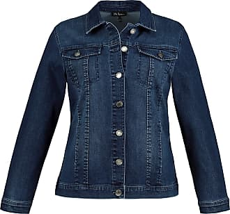 Ulla Popken Womens Plus Size Metallic Button Stretch Jean Jacket Blue Denim 24 747487 92-50