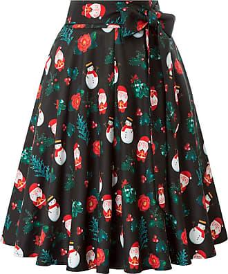 Belle Poque 50s Women Elegant Tea Party Knee-Length Wiggle Skirts Christmas Skirts Santa Claus(561-10) X-Large