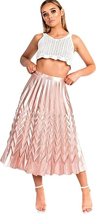 Ikrush Gabbana etallic Pleated idi Skirt Rose UK M