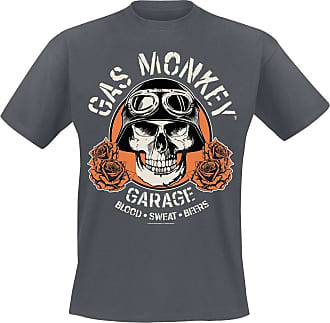 Gas Monkey Garage Skull Men T-Shirt Mottled Dark Grey XXL, 65% Polyester, 35% Cotton, Regular