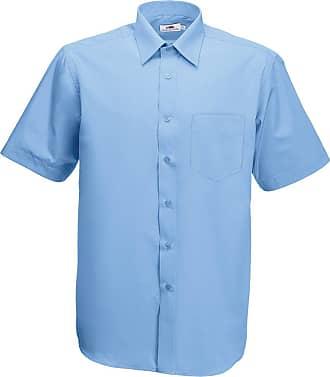 Fruit Of The Loom Mens Poplin Short Sleeve Shirt, Mid Blue, 18.5 Collar (Manufacturer Size:XXX-Large)