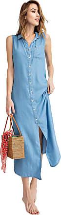 Anna Kaci Classic Sleeveless Blue Jean Button Down Denim Pocket Collar Shirt Dress, Light Denim, Medium