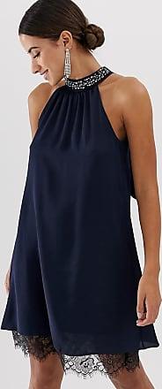 Lipsy Neckholder-Kleid mit Verzierung und Spitzenbesatz-Navy