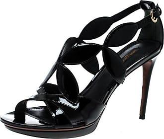 4be4783e7c9a Louis Vuitton Black Patent Leather Fleur Cross Strap Platform Sandals Size  40