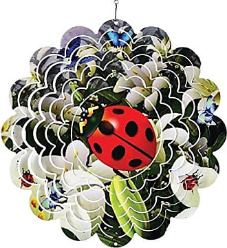 Great World Company StealStreet 610013 12 Lady Bug on Flowers Design Metal Painted Wind Spinner