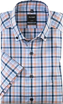 Olymp Luxor Modern Fit Check Short Sleeve Shirt - Blue/Peach XL Blue/Peach