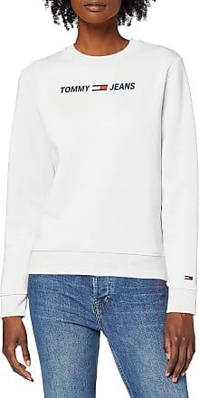 Tommy Jeans Womens TJW Essential Logo Sweatshirt, White (White Ybr), 6 (Size:XS)