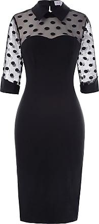 Belle Poque Women Vintage Evening Party Elegant Pin-Up 1/2 Sleeve One-Piece Dresses Black(270-1) X-Large