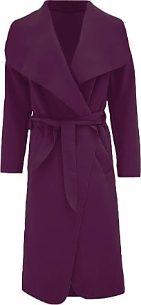 ZEE FASHION Womens Ladies Italian Trench Long Coat Waterfall Duster Cape Belted Cardigan Jacket Wrap Purple