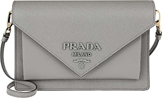 Prada Crossbody Bag Leather Nube Umhängetasche grau
