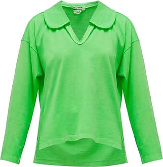 Comme Des Garçons Comme Des Garçons Comme Des Garçons - Peter Pan-collar Long-sleeved Cotton T-shirt - Womens - Green