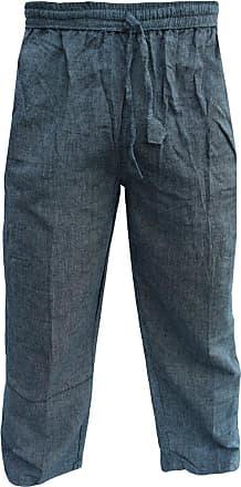 Gheri Mens Cotton Hemp Casual Lounge Trousers Grey XXX-Large