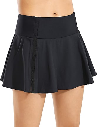CRZ YOGA Womens Active Sport Skirted Shorts Pleated Tennis Golf Skirt with Pockets Black 8