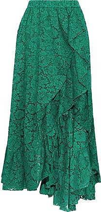 Philosophy di Lorenzo Serafini Philosophy Di Lorenzo Serafini Woman Split-front Ruffled Cotton-blend Corded Lace Midi Skirt Forest Green Size 38