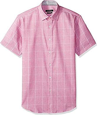 Bugatchi Mens Short Sleeve Fitted Pointed Collar Checkered Shirt, Berry, XL