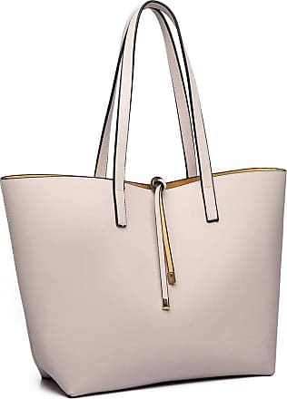 Quirk Women Reversible Contrast Shopper Tote Bag Beige