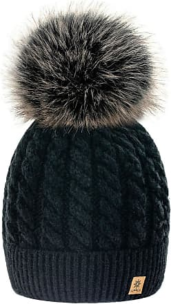 4sold Womens Ladies Beanie Hat Pom Pom Warm Winter Natural Wool Mohair Lining Full Cosy Fleece Liner (Carla Black)