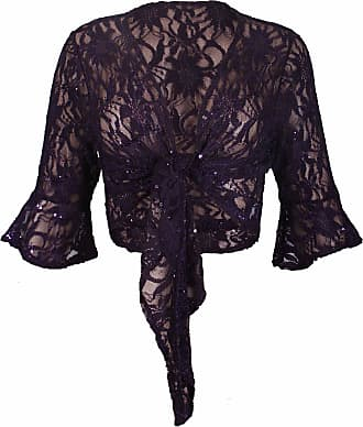 Purple Hanger New Womens Floral Lace 3/4 Three Quarter Short Sleeve Ladies Front Tie Up Sequin Shrug Bolero Stretch Cropped Top Cardigan Plus Size Purple Size 12 -