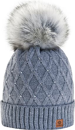 morefaz Women Girls Winter Beanie Hat Wool Knitted Crystal with Large Pom Pom Cap Ski Snowboard Hats (Gray) MFAZ Morefaz Ltd