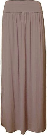 ZEE FASHION janisramone Womens Ladies New Plain Pleated Fold Over Waist Jersey Gypsy Long Length Viscose Maxi Skirt
