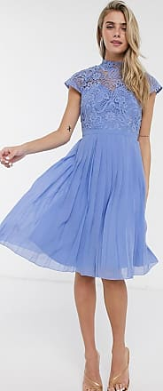 Chi Chi London Chi Chi - Rozie - Halflange jurk met kanten detail in blauw