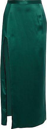 Fleur du Mal Fleur Du Mal Woman Split-front Silk-satin Maxi Skirt Emerald Size 8