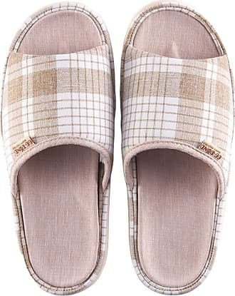 Insun Women Casual Cotton Flax Slippers Indoor Use Shoes Light Brown