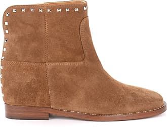 Via Roma 15 Ankle Boot in Leather-Colored Suede with Studs Brown
