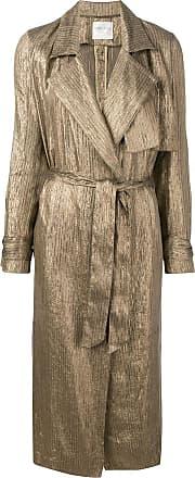 Forte_Forte ribbed shimmer trench coat - Gold
